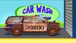 Polícia SUV | Lava-jato | Learn Car Wash | Kids Vehicles | Police SUV | Car Wash
