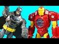 Imaginext Batman Rescues Iron Man Mech Robot And Web Slingin Spider-man ! Superhero Toys