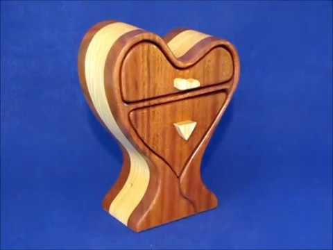Tall Two Drawer Heart Box With Hidden Drawer