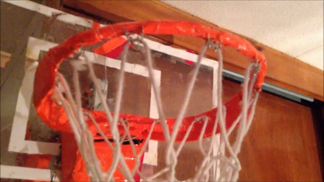 Custom homemade hoop review and dunks youtube for Homemade basketball court