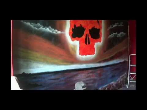 Spray art, painting a picture on the wall