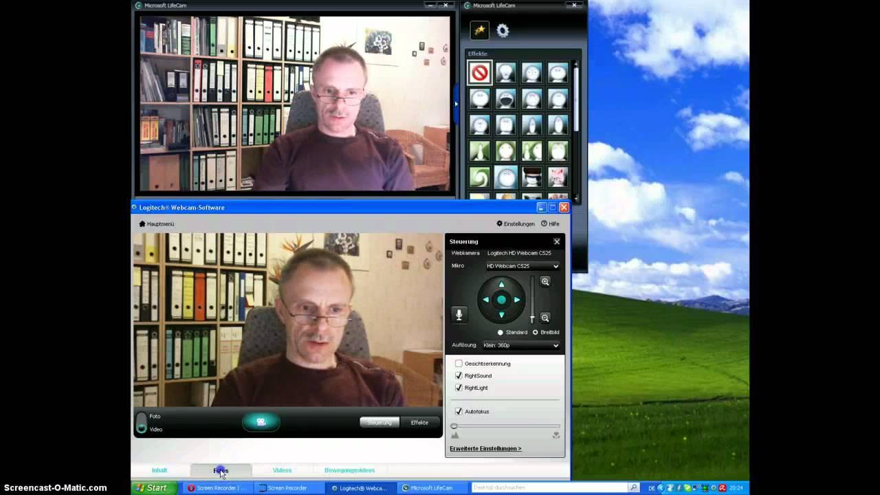 Test Microsoft LifeCam HD-3000 vs. Logitech HD C 525 - YouTube