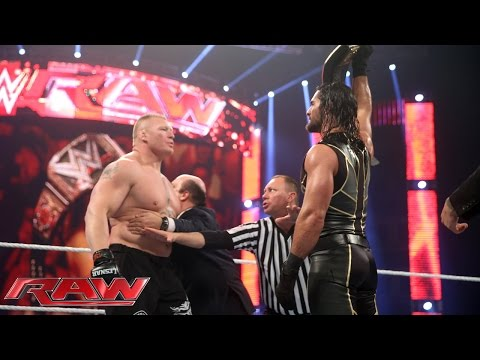 Seth Rollins vs Brock Lesnar - WWE World Heavyweight Championship Match: Raw, March 30, 2015