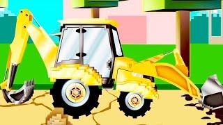 -حفارة بيبو وشاحنته للجر / رسوم متحركة للأطفال مثل مينكرافت