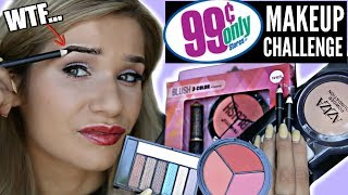 FULL FACE Using ONLY 99 CENTS STORE MAKEUP Challenge!