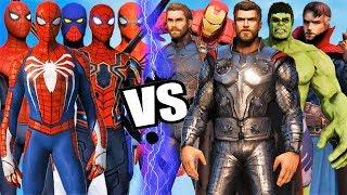 THE AVENGERS Vs ALL SPIDERMAN SUIT - Hulk, Iron Man, Captain America, Black Widow, Thor, DrStrange