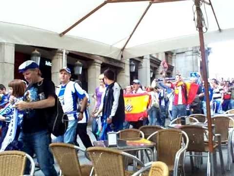 Espanyol fans marching out of Plaza Mayor in Madrid