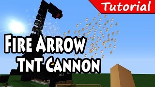 Fire Arrow TnT Cannon Tutorial - Minecraft - Easy / Automatic / 1.8.3
