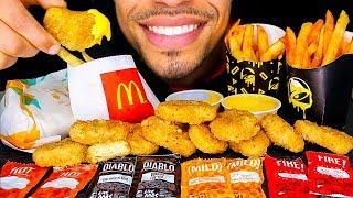 ASMR TACO BELL MCDONALD'S MUKBANG | CHEESY CHICKEN NUGGETS NACHO FRIES EATING CHALLENGE | NO TALKING