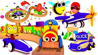 Kinder eggs opening | cartoon police car | honeybee choo choo train | airplanes for children