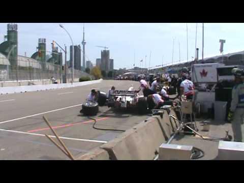 Paul Tracy pits on Saturday at the Honda Indy Toronto