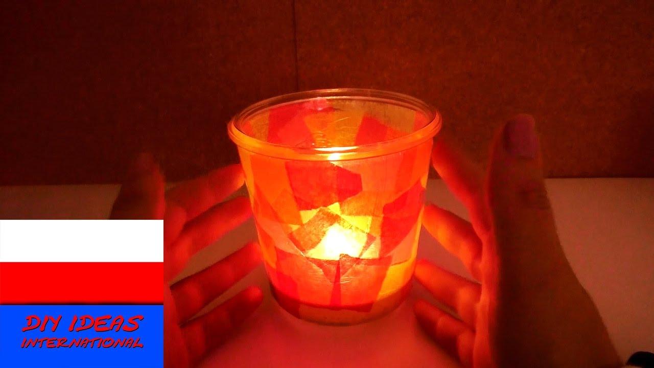 Lampion jesienny ze słoika i bibułki | prosta dekoracja dla dzieci | pomysł na prezent