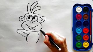 Drawing and painting a monkey dancing
