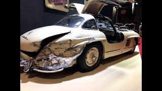 vintage  car news paris retro mercedes 300 damage and ferrari HD & 4K