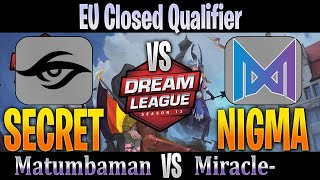 Team Secret vs NIGMA | MATUMBAMAN vs Miracle | Bo3 EU Closed Qualifier DreamLeague 13 | Dota 2 Pro