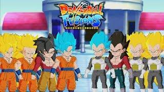 Dragon Ball Fusions (3DS) -  ALL SAIYAN FORMS   SSJ TO SUPER SAIYAN BLUE GOKU/VEGETA【FULL HD】