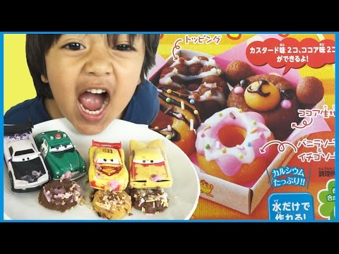 DISNEY CARS EAT DONUT CANDY DIY Japanese Happy Kitchen Doughnut Kit Lighting McQueen Ryan ToysReview