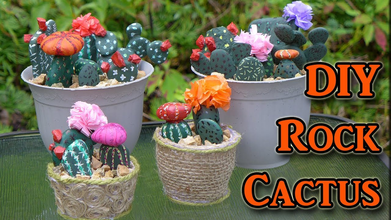 Diy painted rocks cactus decorations youtube - Painting rocks for garden what kind of paint ...