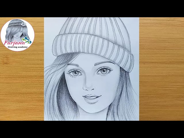 How to draw a girl wearing winter cap for beginners  Pencil sketch  bir kбz nasбl izilir