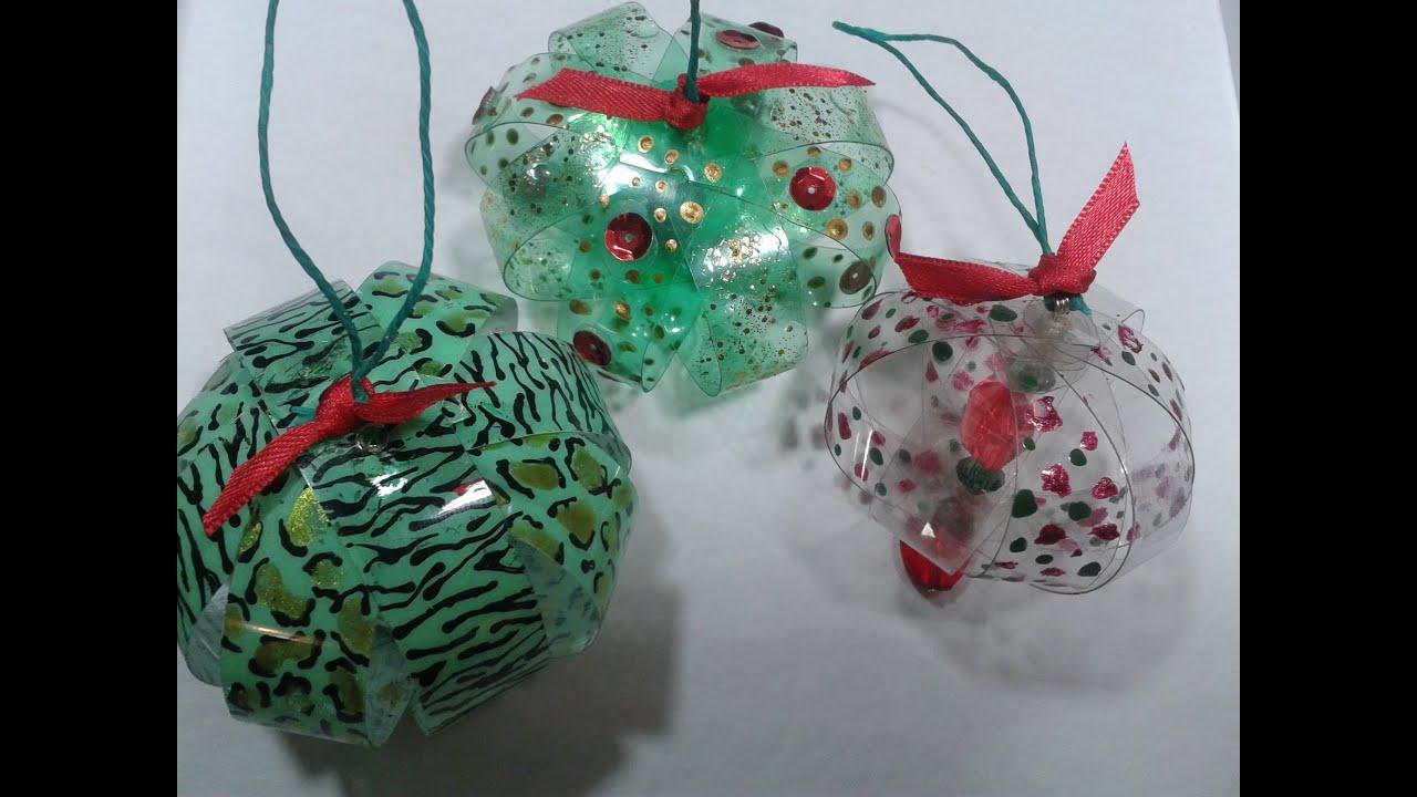 Reciclado con botella plasticas realizamos adornos - Como realizar adornos navidenos ...