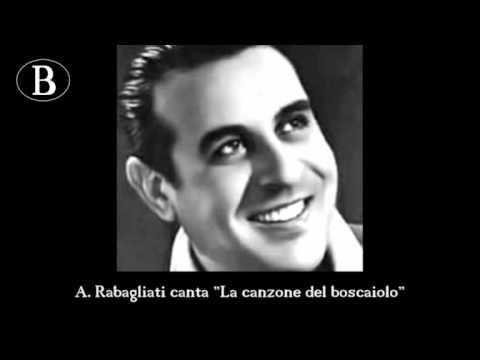 """Pippo Barzizza e i suoi cantanti. Alberto Rabagliati in """"La canzone del boscaiolo"""". 1941"""