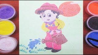 Đồ chơi trẻ em TÔ MÀU TRANH CÁT CẬU BÉ TƯỚI HOA - Colored Sand Painting