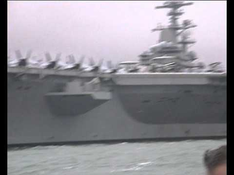 USS GEORGE H.W BUSH CVN-77 boat trip round the carrier at Stokes Bay Sunday 29 May 2011,pt 2..avi