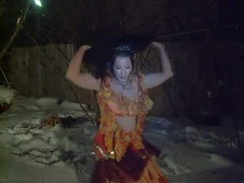 Hot sexy belly dance in the snow ,Deniz,ladykashmir,winter,belly,dancing,ohio
