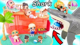 LOL Surprise Dolls Visit Lil Bratz Pool with Sharks for Lil Sisters - Bunk Beds Toy Video