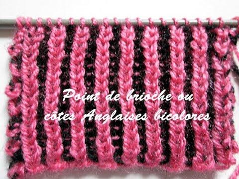 Tuto tricot point de brioche ou cotes anglaises bicolores - Point de cote tricot ...