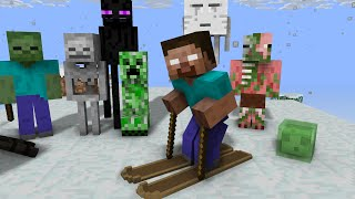 Monster School: Skiing - Minecraft Animation