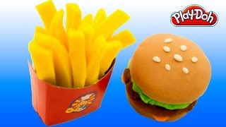 Play-Doh Burger and Fries Play Doh How To Make a Hamburger & French Fries Playdough