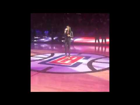 Michelle Williams - US National Anthem (Live Acapella: Lakers vs Clippers, 2016)