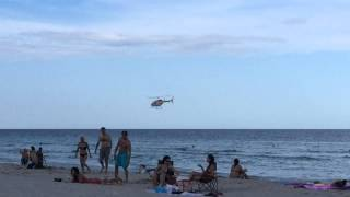 Low pass helicopter over south beach