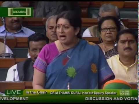 HRD Minister Smriti Irani Powerful Full Speech 2015: IIT Controversy, Saffronisation of Education