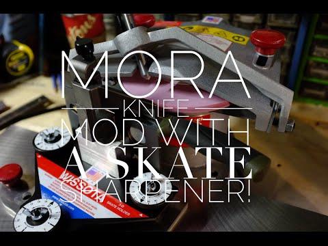 Ultimate Mora knife modification. with a hockey skate sharpener!