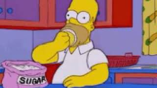 Fat homer eating dougnut with sugar