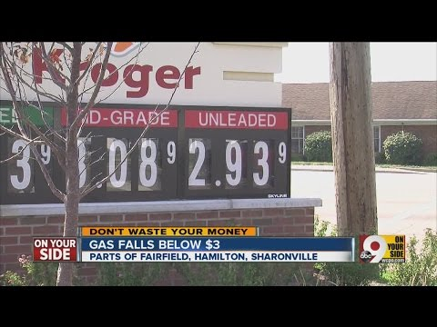 Cincinnati area gas prices fall below $3