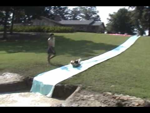 Red neck summer sports and backyard water youtube - How to build a swimming pool slide ...