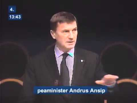 Estonian Prime Minister Andrus Ansip in front of Parliament answering questions regarding ACTA (1/2)