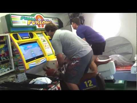 2 Big Kids Playing 1997 Namco FINAL FURLONG Arcade Machine