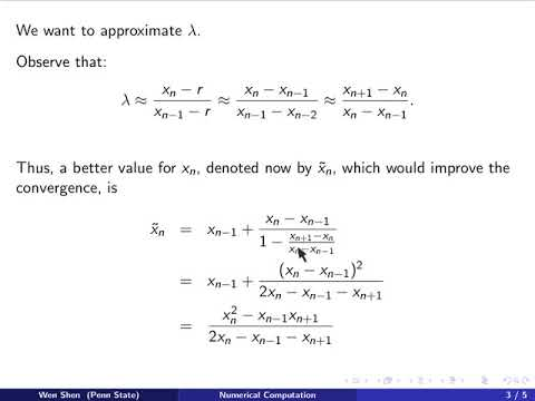 Ch05n1: Aitken Method and Acceleration