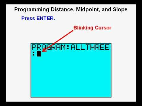 Program distance midpoint and slope formula ti84 for Drainage slope calculator