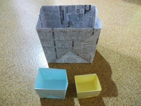 折り紙ゴミ箱の作り方 Paper trash ... : チラシ 箱 折り方 長方形 : 折り方