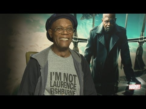 Samuel L Jackson wears 'I'm not Laurence Fishburne' shirt during interview