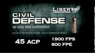 Liberty Civil Defense .45 ACP 78 Grain Lead Free Hollow Point Ammo