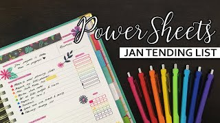 PowerSheets | January Tending List + December Check-in