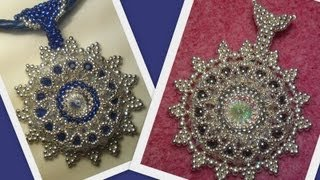 Beaded Shiny Rivoli Pendant or Brooche Beading Tutorial by HoneyBeads1 (Photo tutorial)