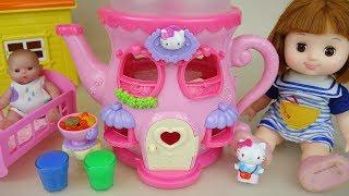 Baby doll and Hello Kitty jar house toys Baby Doli play
