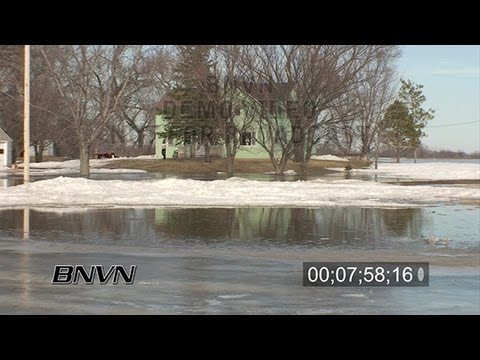 3/19/2009 Clay County, MN - Buffalo River Flooding stock video